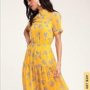 Mustard yellow floral print midi dress